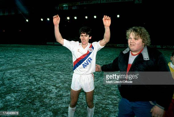 12 May 1987 FA Cup 3rd round Crystal Palace v Nottingham Forest Palace hero Alan Irvine celebrates on the frozen pitch after the match with a...