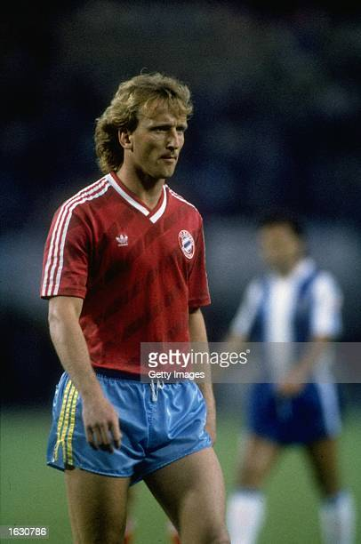 Portrait of Andreas Brehme of Bayern Munich during the European Cup final against Porto at the Prater Stadium in Vienna Austria Porto won the match...