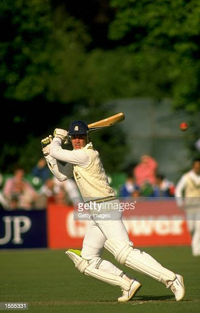 Chris Broad of Nottinghamshire in action during a match against Worcestershire at New Road in Worcester England Mandatory Credit Allsport UK /Allsport