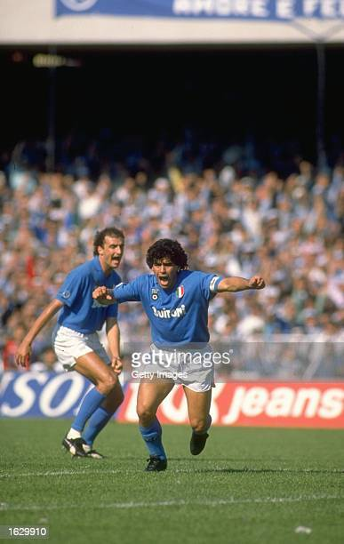 Diego Maradona of Napoli SSC celebrates a goal during an Italian League match against Milan at the San Paolo Stadium in Naples Italy Milan won the...