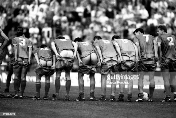 The wimbledon players show off their backsides in Crazy Gang style during a Testimonial match for Alan Cork Mandatory Credit Pascal Rondeau /Allsport