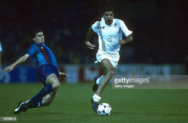 Amor of Barcelona tackles T Cerezo of Sampdoria during the European Cup Winners Cup final at the Wankdorf Stadium in Berne Switzerland Barcelona won...