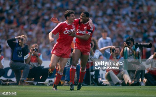20 May 1989 FA Cup Final Liverpool v Everton John Aldridge and John Barnes celebrate the opening Liverpool goal together