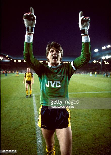26 May 1989 Football League Division One Liverpool v Arsenal Arsenal goalkeeper John Lukic celebrates as Arsenal win the title in a dramatic finale...