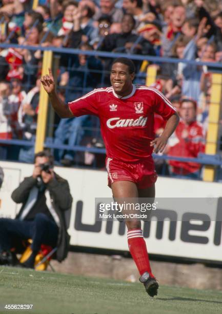 13 May 1989 Football League Division One Wimbledon FC v Liverpool FC John Barnes of Liverpool celebrates a goal