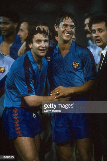 Gary Lineker and the second goal scorer Lopez Rekarte of Barcelona embrace after their victory in the European Cup Winners Cup final against...