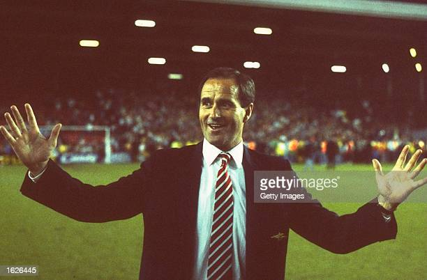 Manager George Graham of Arsenal celebrates after their victory in the League Division One match against Liverpool at Anfield in Liverpool England...
