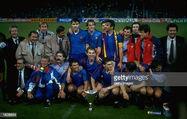 The Barcelona team pose with the trophy after their victory in the European Cup Winners Cup final against Sampdoria at the Wankdorf Stadium in Berne...