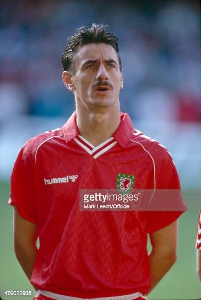 31 May 1989 World Cup Qualifying Wales v Germany Ian Rush of Wales sings the National Anthem