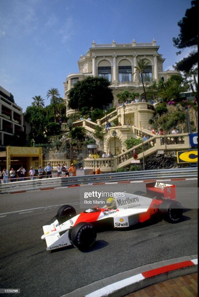 Ayrton Senna of Brazil in action in his McLaren Honda during the Monaco Formula One Grand Prix in Monte Carlo, Monaco. Ayrton Senna finished in first place. \ Mandatory Credit: Bob Martin/Allsport