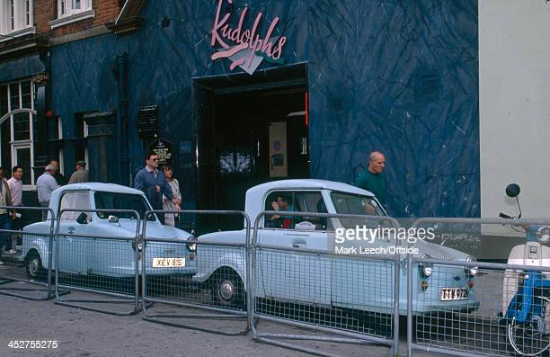08 May 1990 English Football League Division One Tottenham Hotspur v Derby County Disability cars parked outside a Tottenham pub named Rudolphs
