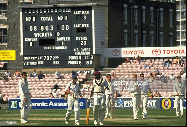 General view of the scoreboard at the end of Lancashire's record breaking innings of 863 during a County Championship match against Surrey at The...