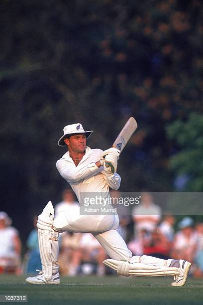 Martin Crowe of New Zealand sweeps for four during the tour match against the Duchess of Norfolk's XI played at Arundel Sussex England New Zealand...