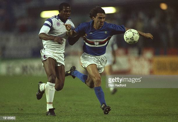 Roberto Mancini of Sampdoria holds off Stephen Keshi of Anderlecht during the European Cup Winners Cup Final match in Gothenburg Sweden Sampdoria won...