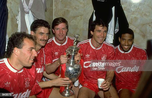 Ronnie Rosenthal Ian Rush Ronnie Whelan Alan Hansen and John Barnes of Liverpool celebrate after the Barclays League Division One match against Derby...