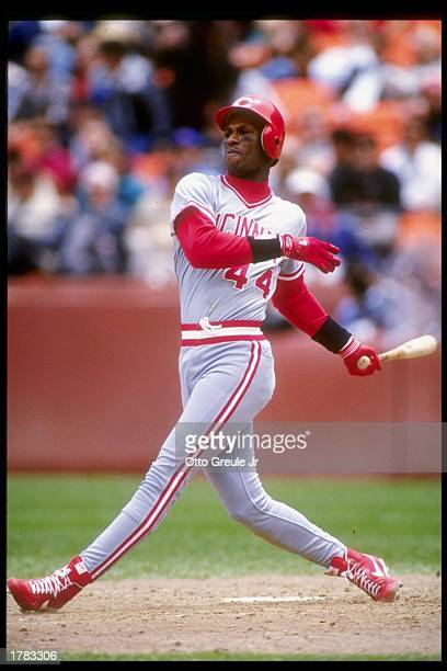 Outfielder Eric Davis of the Cincinnati Reds in action during a game against the San Francisco Giants at Candlestick Park in San Francisco California...
