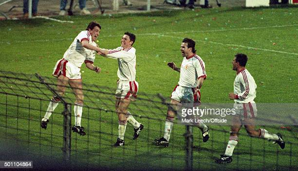 Manchester United v Barcelona European Cup Winners Cup Final Steve Bruce celebrates after scoring the first goal for United he is joined by Lee...