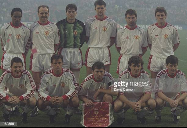 The Manchester United team pose for a photograph before the European Cup Winners Cup Final against Barcelona at the Feyenoord Stadium in Rotterdam...