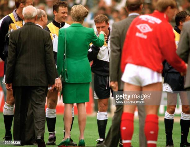 18 May 1991 Wembley FA Cup Final Nottingham Forest v Tottenham Hotspur Paul Gascoigne kisses the hand of Royal guest Diana Princess of Wales before...