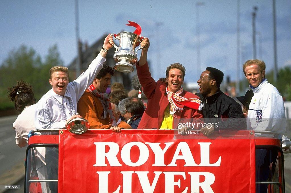 David Burrows, Dean Saunders, Rob Jones, Mark Walters and Mark Wright of Liverpool : News Photo