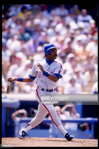 Eddie Murray of the New York Mets in action during a game against the Los Angeles Dodgers at Dodger Stadium in Los Angeles California Mandatory...