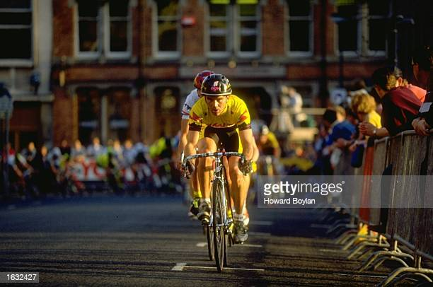 General view of competitors in action during the Scottish Provident City Centre Cycling Series in Leeds England Mandatory Credit Howard...