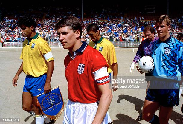 17 May 1992 International Football Friendly England v Brazil Gary Lineker leads out the England team alongside Brazilian captain Rai
