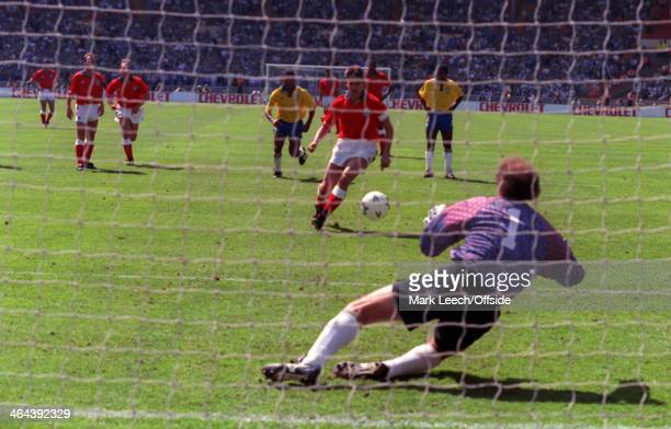 17 May 1992 International Friendly England v Brazil Gary Lineker of England takes his penalty that is saved by Brazil goalkeeper Roberto Gallos Carlos