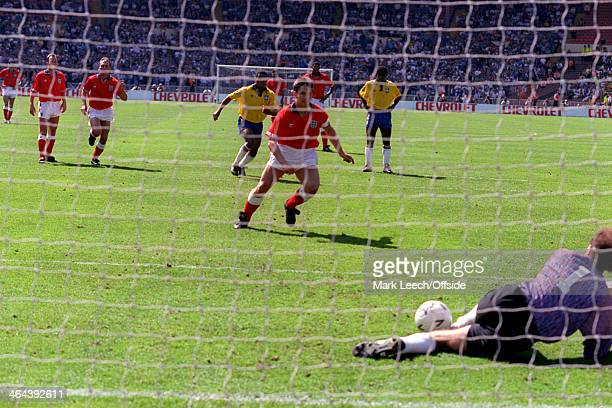 17 May 1992 International Friendly England v Brazil Gary Lineker of England sees his penalty saved by Brazil goalkeeper Roberto Gallo Carlos