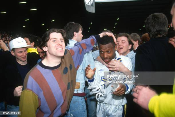 2 May 1992 Leeds United v Norwich English Football Division One Leeds Don Wallace of Leeds United is greeted by the fans following Leeds confirming...