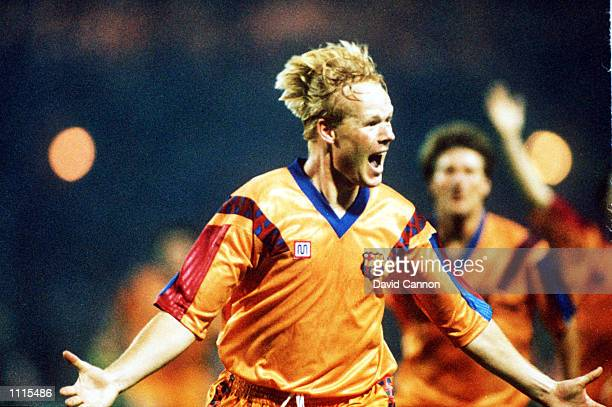 Ronald Koeman celebrates after scoring for Barcelona during the European Cup Final between Barcelona v Sampdoria. Barcelona won 1-0. Mandatory...