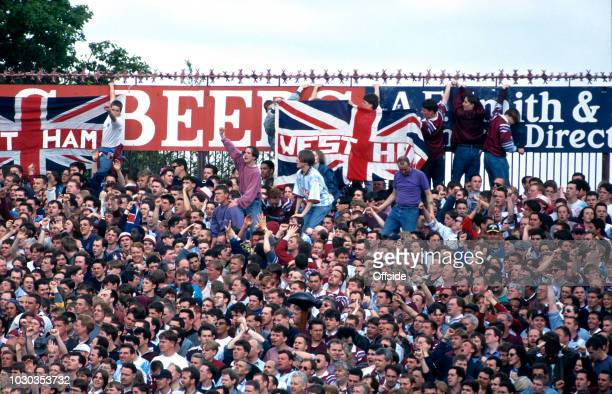02 May 1993 Football League Division One Swindon Town v West Ham United Travelling West Ham supporters crowd onto the terraces at the County Ground