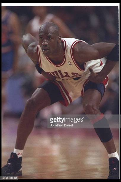 Guard Michael Jordan of the Chicago Bulls looks on during a second round playoff game against the Cleveland Cavaliers at the United Center in Chicago...