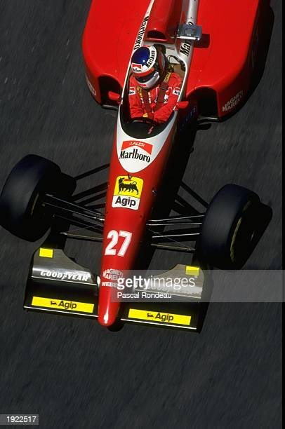 Jean Alesi of France in action in his Scuderia Ferrari during the Monaco Grand Prix at the Monte Carlo circuit in Monaco Alesi finished in third...