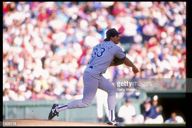 Pitcher Jose Canseco of the Texas Rangers throws the ball during a game against the Boston Red Sox at Fenway Park in Boston Massachusetts It was his...
