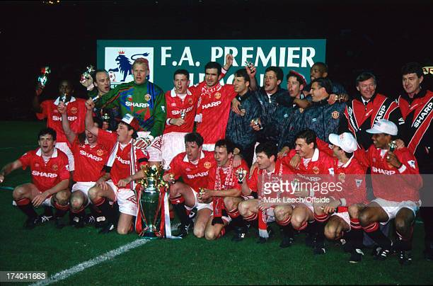03 May 1993 Premiership Football Manchester United v Blackburn Rovers United squad celebrate as they are crowned champions of the FA premier League