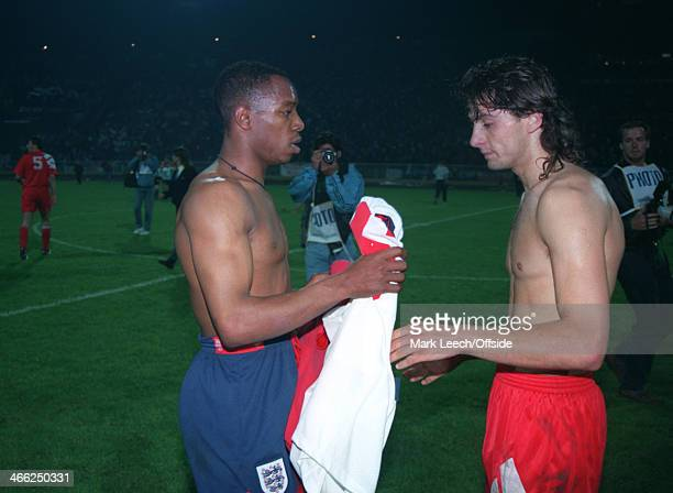 29 May 1993 World Cup Qualifier Poland v England Ian Wright of England swaps his shirt at the end of the match