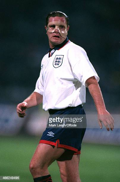 29 May 1993 World Cup Qualifier Poland v England Paul Gascoigne of England sporting a face mask due to an injury from a domestic league match