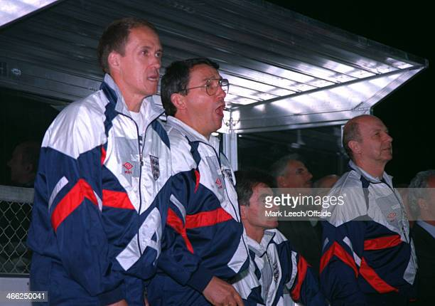 29 May 1993 World Cup Qualifier Poland v England Phil Neal and Graham Taylor show their expressions as the game nears full time