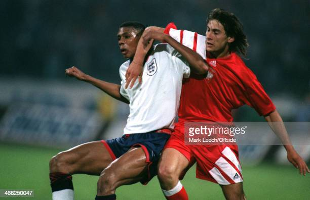 29 May 1993 World Cup Qualifier Poland v England Piotr Swierczewski of Poland and Carlton Palmer of England battle against each other for the ball