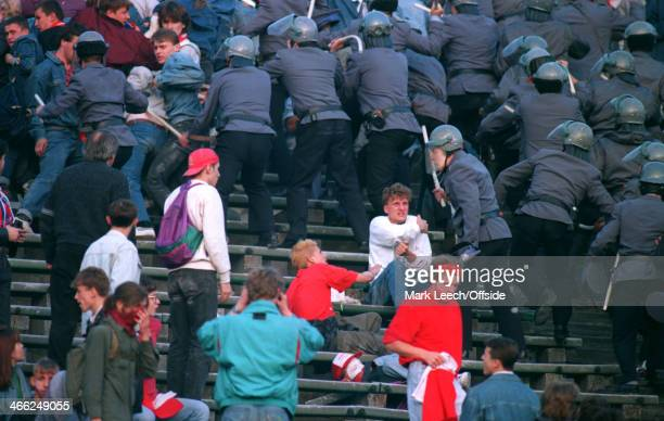 29 May 1993 World Cup Qualifier Poland v England Polish police try and restore order between the Polish fans