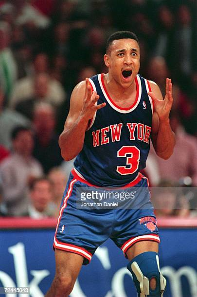An animated John Starks of the New York Knicks vents his frustration during the Knicks 104-102 defeat by the Chicago Bulls in the second round of the...