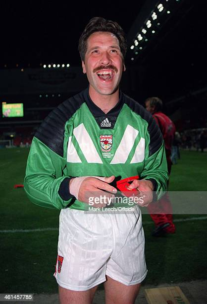 04 May 1994 European Cup Winners Cup Final Copenhagen Arsenal v Parma AC Arsenal goalkeeper David Seaman celebrates after winning the Cup Winners Cup