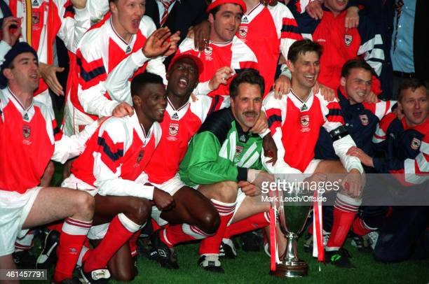 04 May 1994 European Cup Winners Cup Final Copenhagen Arsenal v Parma AC Arsenal celebrates after winning the Cup Winners Cup Front l to r Nigel...