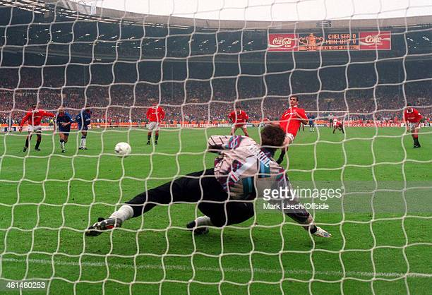 14 May 1994 FA Cup Final Manchester United v Chelsea Eric Cantona puts the penalty kick past Dimitri Kharine to score the opening goal for United