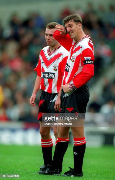 07 May 1994 FA Premiership West Ham United v Southampton Matt Le Tissier wipes his eye as he stands next to Southampton teammate Simon Charlton