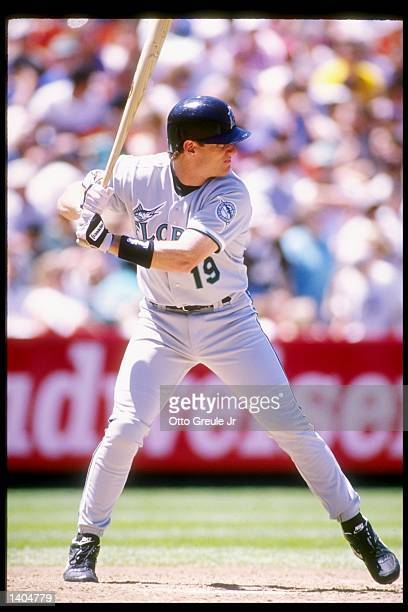 First baseman Jeff Conine of the Florida Marlins takes his turn at bat during a game against the San Francisco Giants at Candlestick Park in San...