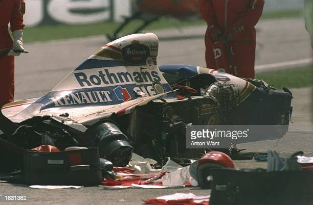 General view of Ayrton Senna's wrecked Williams Renault after he crashed during the San Marino Grand Prix at the Imola circuit in San Marino Senna...