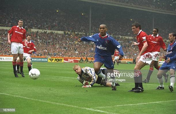 Mark Stein of Chelsea in action during the FA Cup final against Manchester United at Wembley Stadium in London Manchester United won the match 40...