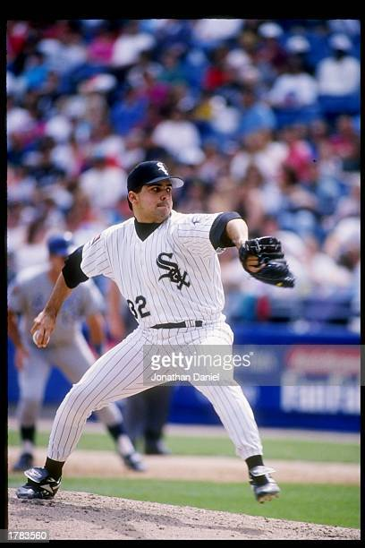 Pitcher Alex Fernandez of the Chicago White Sox winds up for the pitch during a game against the Kansas City Royals at Comiskey Park in Chicago...